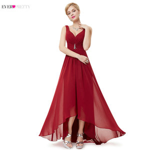 Image 4 - Long Evening Dresses Ever Pretty Plus Size EP09983BK Double V Neck Rhinestones High Low Weddings Events Special Occasion Dresses