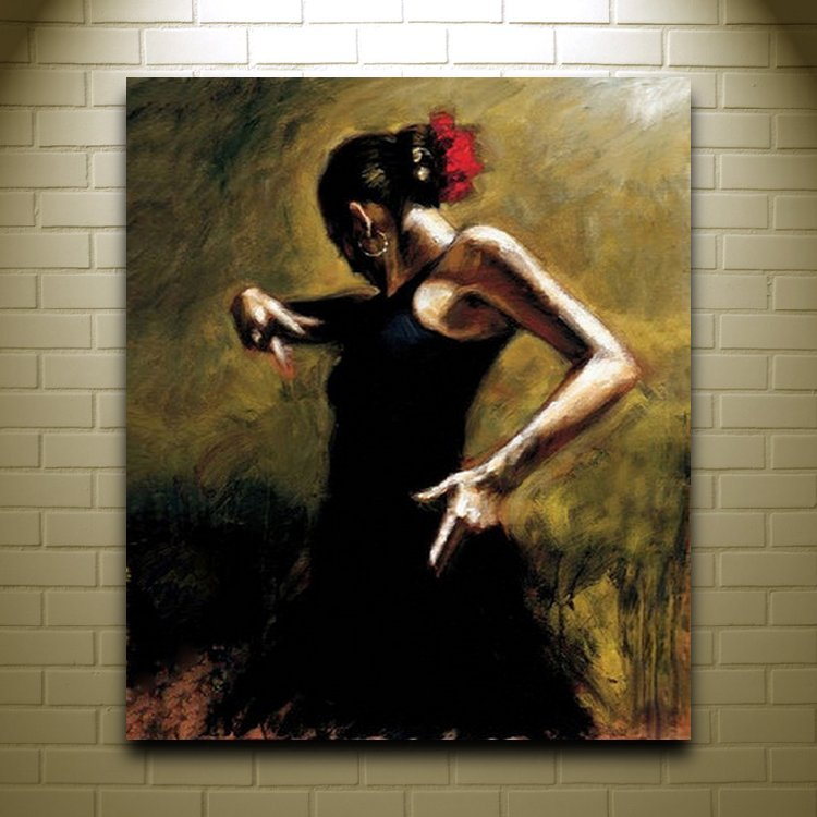 Handmade Women Oil Painting On Canvas Spanish Dancer