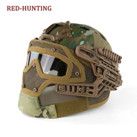 Tactical Fast Helmet PJ Type with Protective Goggle and Mesh Face Mask for Airsoft Paintball cp