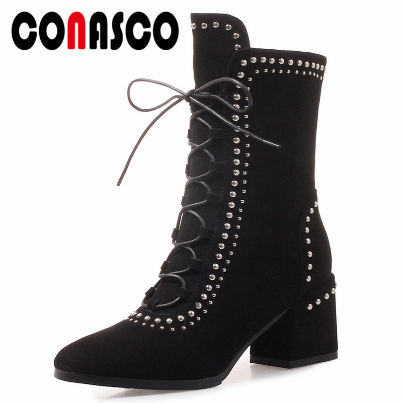 CONASCO Punk Sexy Women Rivets High Heels Ankle Boots Suede Leather Warm Autumn Winter Night Club Party Shoes Woman Basic Boots CONASCO Punk Sexy Women Rivets High Heels Ankle Boots Suede Leather Warm Autumn Winter Night Club Party Shoes Woman Basic Boots