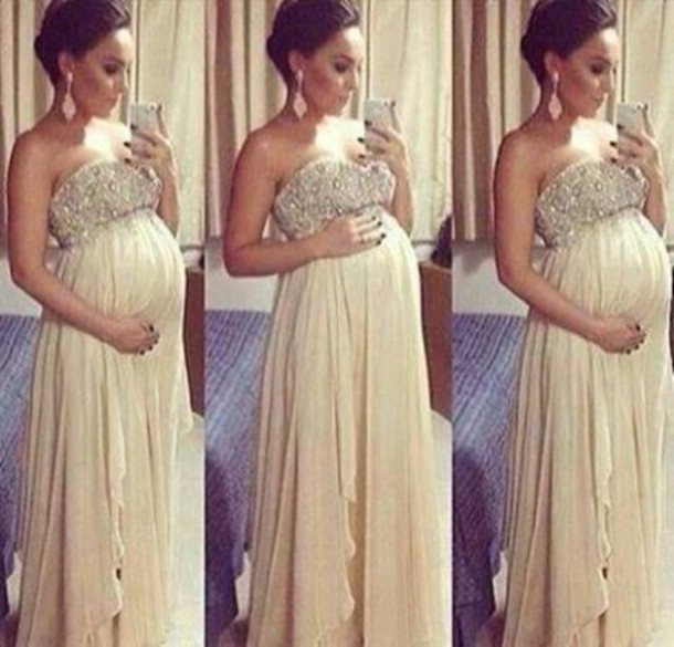 e7cfb5cd7 Beige que rebordea baile vestidos largos para mujeres embarazadas un vestido  de línea A vestidos del