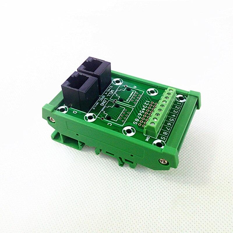 DIN Rail Mount RJ45 Module,RJ45 8P8C Jack 2-Way Buss Breakout Board, Terminal Block, Connector. imc hot 10 pcs rj45 8p8c double ports female plug telephone connector