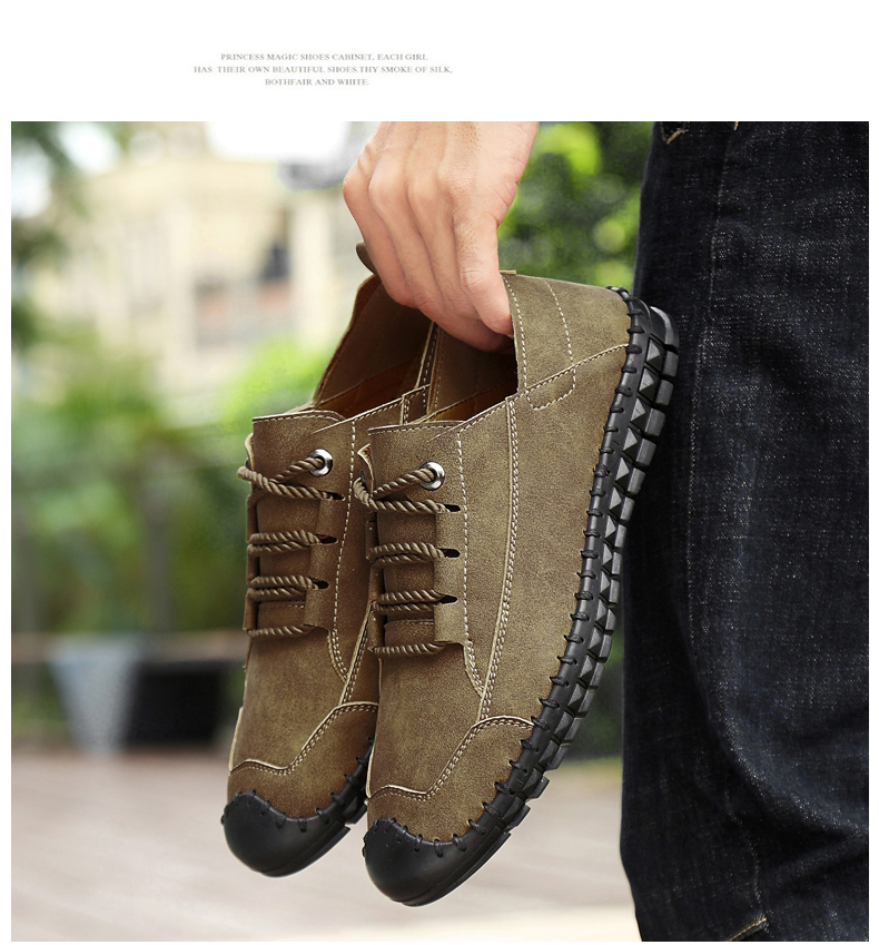 HTB1 ktdas vK1Rjy0Foq6xIxVXar - 2019 New Fashion Leather Spring Casual Shoes Men's Shoes Handmade Vintage Loafers Men Flats Hot Sale Moccasins Sneakers Big Size