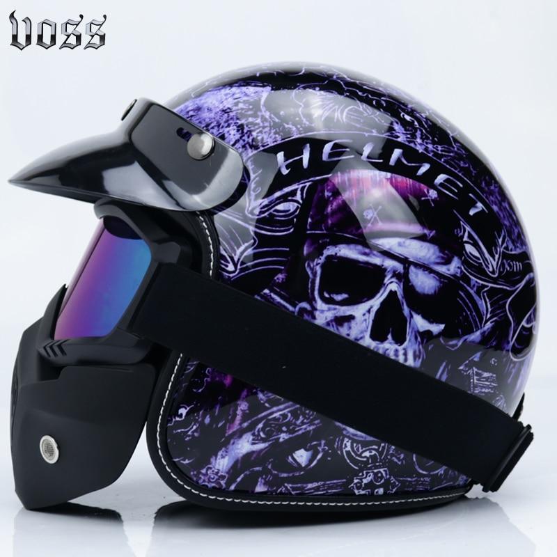 3 4 open face half motorcycle helmet vintage retro leather helmets the Indians and broken skull