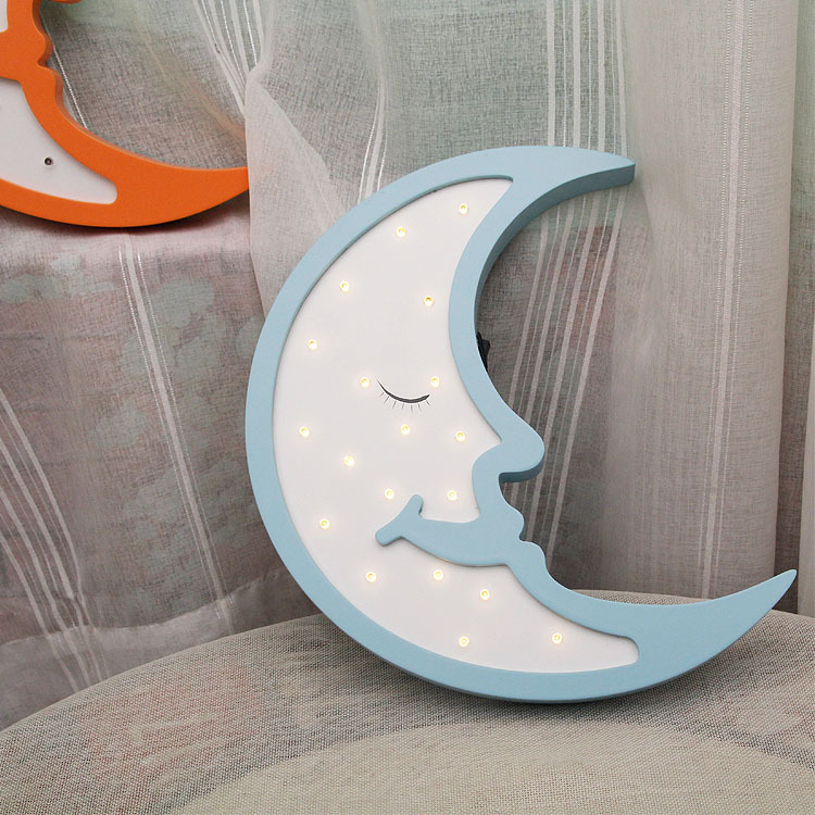 Wooden Moon LED Lamp Pink Home Decoration For Kids Light Up Night LED Grow Light Wall Decoration For Children Bedroom