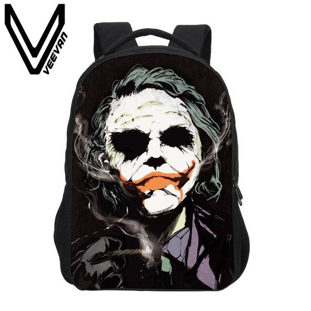 9b82b88bcd VEEVANV 2017 Batman, clown satchel, 3D stampa zaino della scuola,  pagliaccio Jack,