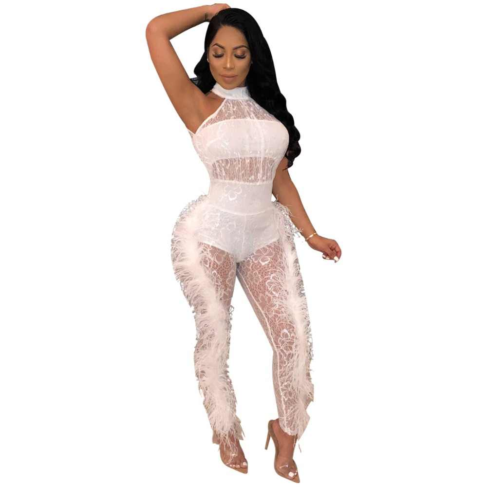 ebaa10df03 Mesh Patchwork Feathers Jumpsuit Women Sexy See Through Sleeveless O Neck  Bodycon Women Jumpsuit Transparent Night