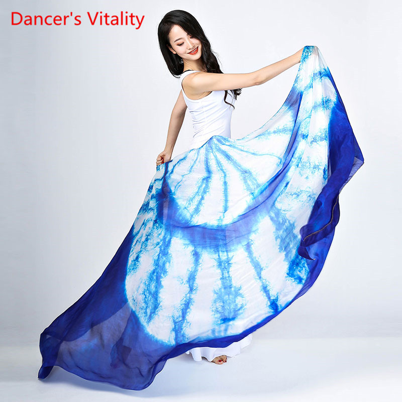 New Belly Dance Veils Real Silk Popular Color Gradient Hand Silk Scarf Shawls For Dancing OR Stage Sizes