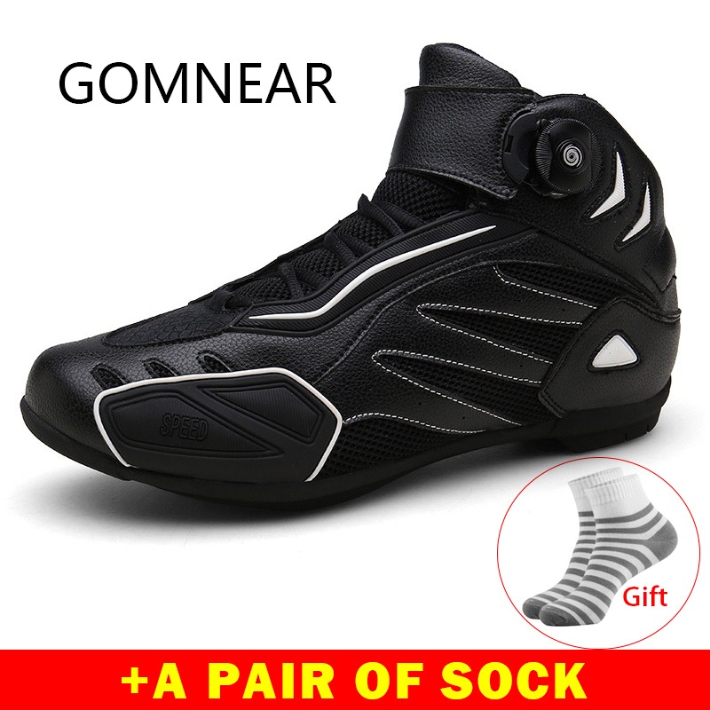 Gomnear Motorcycle Riding Breathable Boots Men And Women Moto protection Microfiber leather Motorbike Biker Touring Boots Shoes in Cycling Shoes from Sports Entertainment