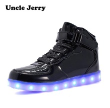 цена на EU 25-46 Led Shoes for kids and adults USB charger Light Up Air force for boys girls men women Fashion Party Glowing Sneakers