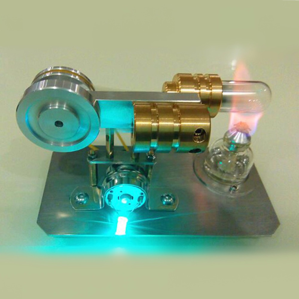 Mini Hot Air Stirling Engine Motor Model Educational Toy Kit Gift With LED Light diy low temperature stirling engine educational puzzle toy kit silver
