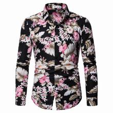 Mens Shirt Floral Casual Long sleeve New arrival Turn-down collar Shirts Men's clothing Flower Blouse Men girls plaid blouse 2019 spring autumn turn down collar teenager shirts cotton shirts casual clothes child kids long sleeve 4 13t