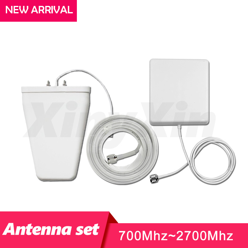 GSM CDMA 3G WCDMA 4G LTE Antenna Set For Signal Booster 10dBi Log Periodic Antenna + 9dBi Panel Antenna +13 Meters Coaxial Cable