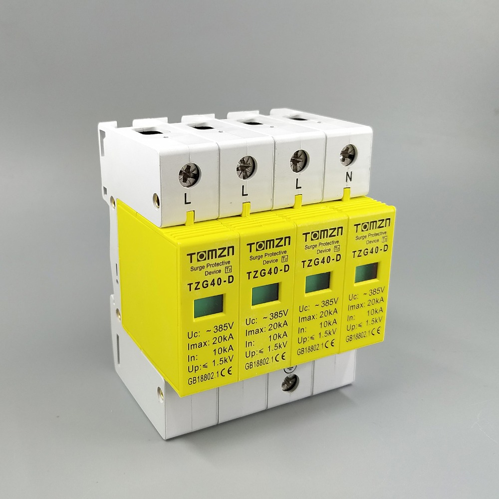 SPD 3P+N 10KA~20KA D ~385VAC House Surge Protector Protection Protective Low-voltage Arrester Device rs 485 10ka in out surge protection device blue 6v 24v