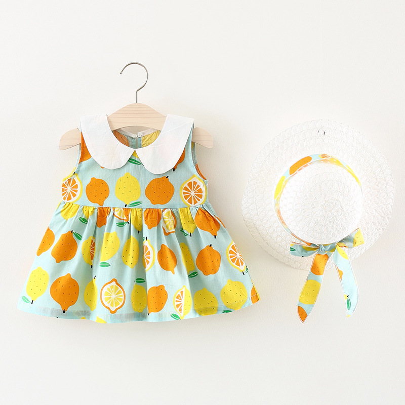 2018 Baby Clothes New Fashion Summer Printing Sleeveless Dress + Beach Hat Girls Girls Dresses Party Princess Dress Baby Clothes