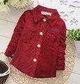 Baby boy algodão fresco de veludo veludo camisa de alta qualidade linda moda de manga comprida camisa formal
