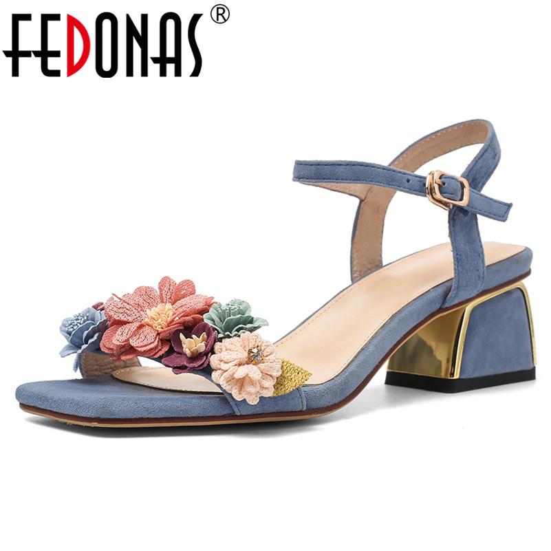FEDONAS Fashion Sweet Flowers Decoration Women Sandals Square Toe Buckle High Heels Elegant Kid Suede Party