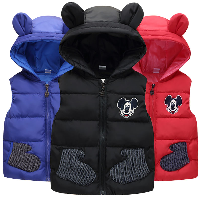 2019 New Children Autumn Winter Mickey Vest For 1-5Yrs Baby Kids Thick Cartoon Hooded Warm Waistcoat Boys Girls Outerwear 1-5T2019 New Children Autumn Winter Mickey Vest For 1-5Yrs Baby Kids Thick Cartoon Hooded Warm Waistcoat Boys Girls Outerwear 1-5T