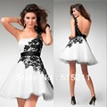 Elegant Black Appliques One Shoulder Strapless White Organza Ball Gown Cocktail Dresses Short Mini Prom Party Gowns 2017
