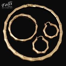 Moda De Bambú Forma Beads Africanos Joyería Set Exquisito Flash Dubai Nupcial Bijoux Oro de La Joyería 18 K de la Boda de Nigeria