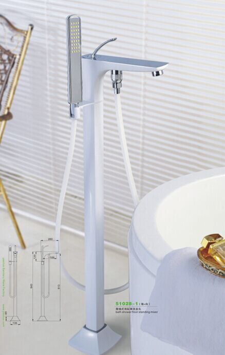 Bathtub Faucets Modern Style White Color Copper Water Mixers Floor Stand Hand Hold Bathroom Shower Sauna