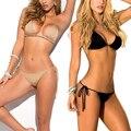 Sólido sexy tanga bikini playa de las mujeres 2017 del traje de baño brasileño biquini bikinis establecer la salida de playa traje de baño de cadena femenina 1667