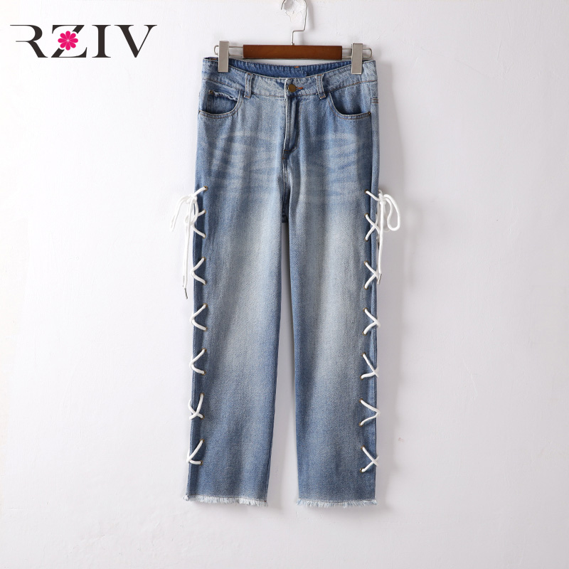 RZIV 2017 female font b jeans b font casual solid color strap decorated with burr font