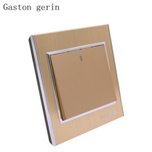 Kitchen LED Light Switch Push Button Wall 1 Gang 2 Way Interruptor Luxury Brushed Gold Panel High Quality 10A AC 220-250