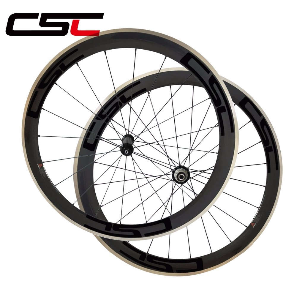 CSC 700C 23mm width 50mm depth clincher bike wheelset R36 hub alloy breaking surface road bicycle carbon wheels sapim cx ray