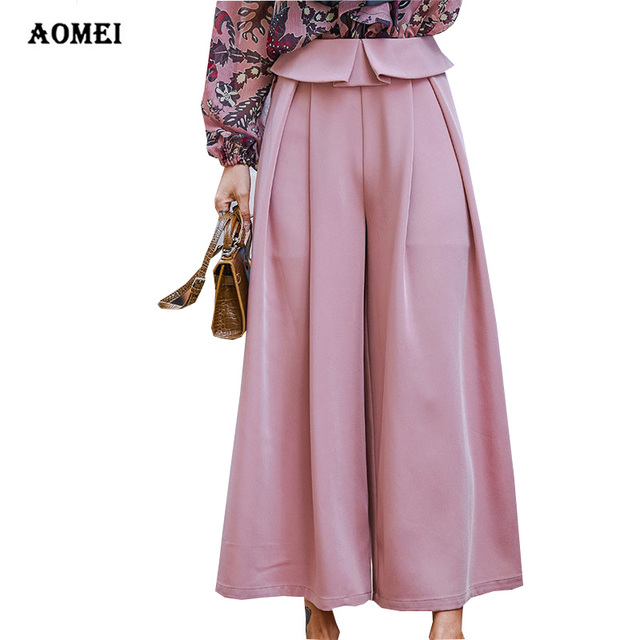 Wide Leg Pants for Women Trousers Pleated Casual Palazzo Pantskirt Culottes  Office Lady Divided Skirts Pants Pantalon Mujer Wear 130130f00c2b