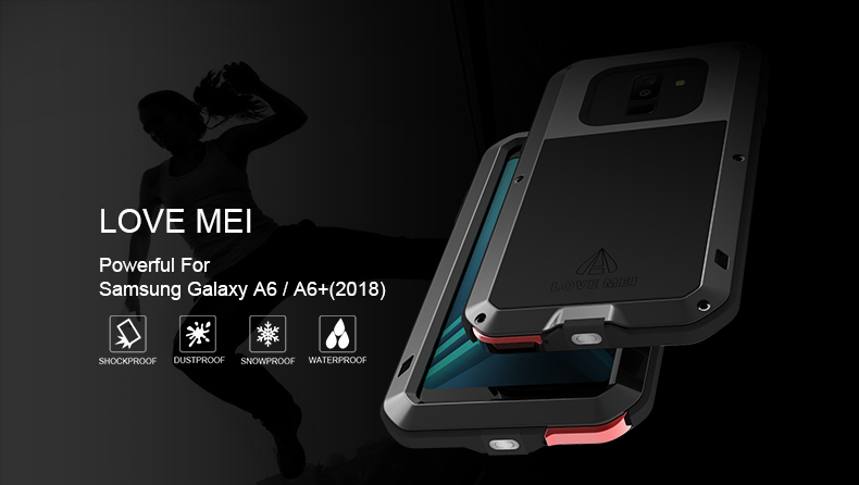 reputable site 210d4 98a06 2018 A6 Life Waterproof Shockproof Metal Armor Case for Samsung Galaxy A6  Plus 2018 LOVE MEI Water Resistant Cover With Glass