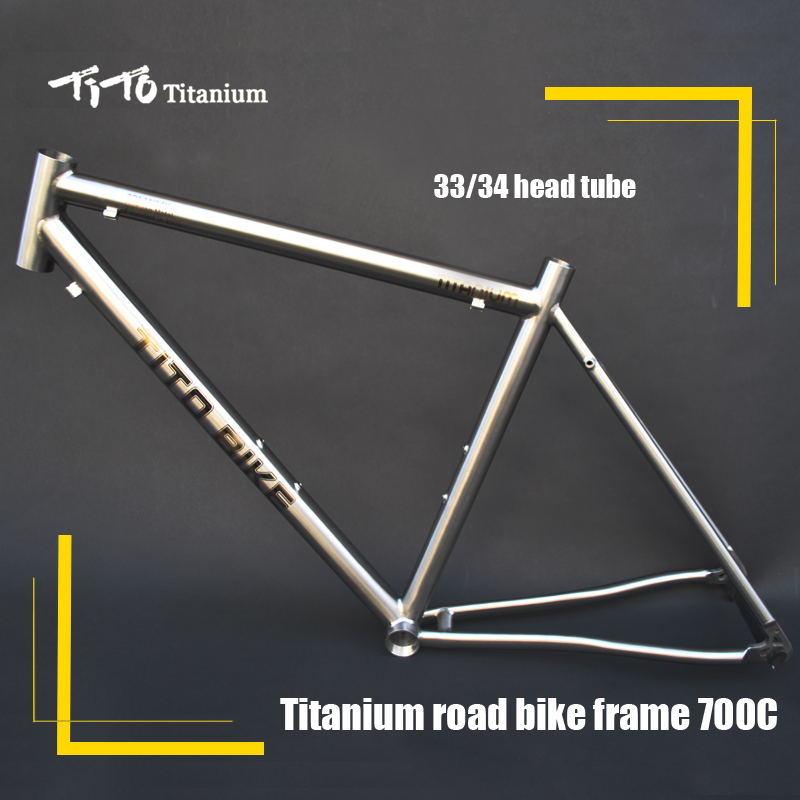 Free shipping !!! TiTo titanium road bike frame 700C titanium road bicycle outside line pure titanium full rim frame men male eyeglasses titanium sunglasses frame