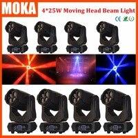 8 Pçs/lote 4*25 W LED Spot Moving Head Luz DMX512 2 Gobo roda/FOCUS/3 face DJ Levou Movendo A Cabeça feixe gobo dj stage luz|moving head light|dj light|dj led -