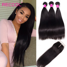 Recool Hair Straight Virgin Hair Bundles With Closure 4 Pcs/Lot Human Hair Extensions Brazilian Hair Weave Bundles With Closure(China)