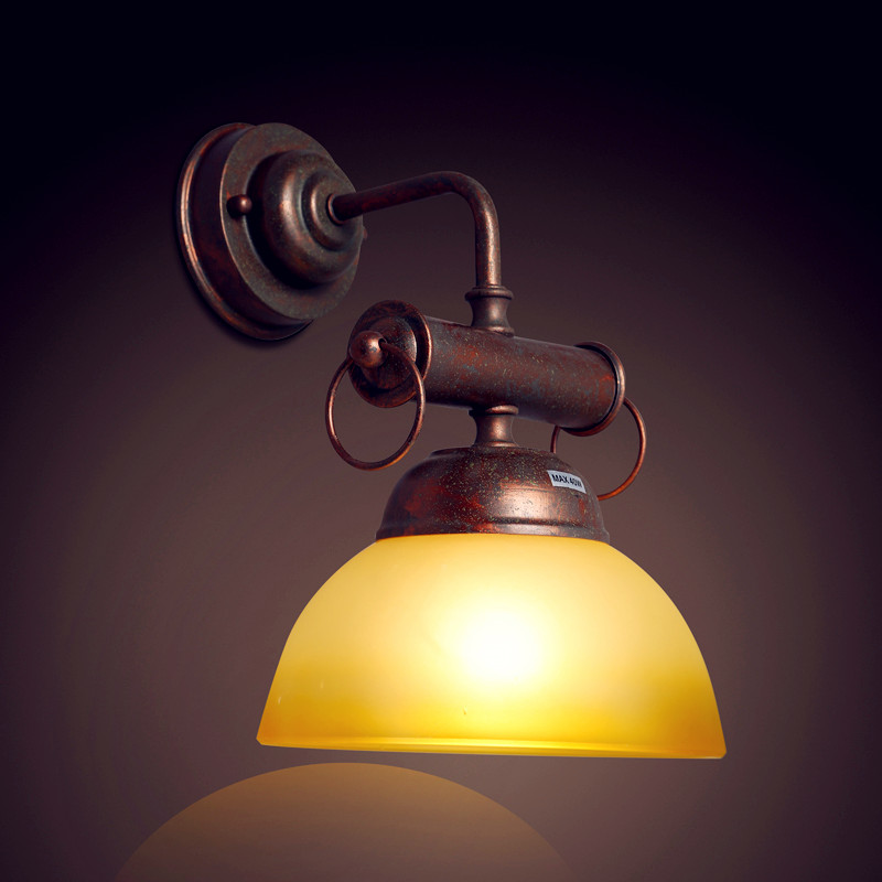 Glass Antique Retro Vintage Wall Light Aisle Bar Beside Lamp Style Loft Industrial Wall Sconce LED Lampara Appliques Pared glass loft industrial vintage wall light fixtures adjustable swing long arm wall lamp led retro sconce appliques lampara pared