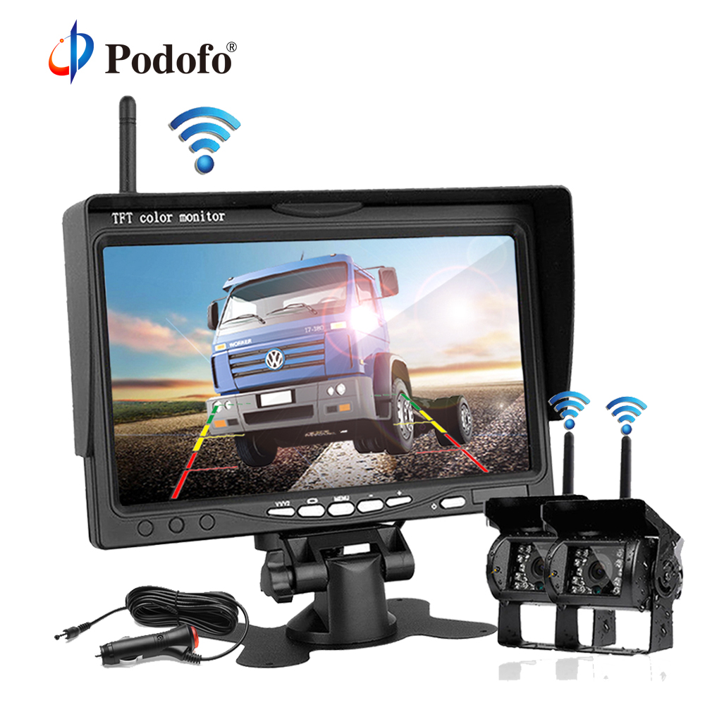Podofo Updated 2x Wireless Rear View Reversing Camera 7 Monitor Car Charger for Bus Truck RV Van Trailer 12V-24V Parking System factory truck bus camera ahd ccd rear view camera 24v truck camera iveco isuzu truck van trailer buses waterproof camera