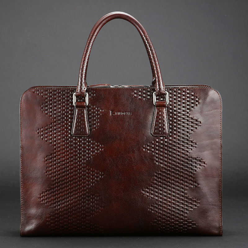 first class 100% natural leather brand business handbag, soft cow leather brown computer bag, male fashion design luxury bags