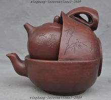 christmas 8″ Old Chinese Yixing Zisha Pottery Carved Text Bamboo Tea maker Teapot Tea set halloween