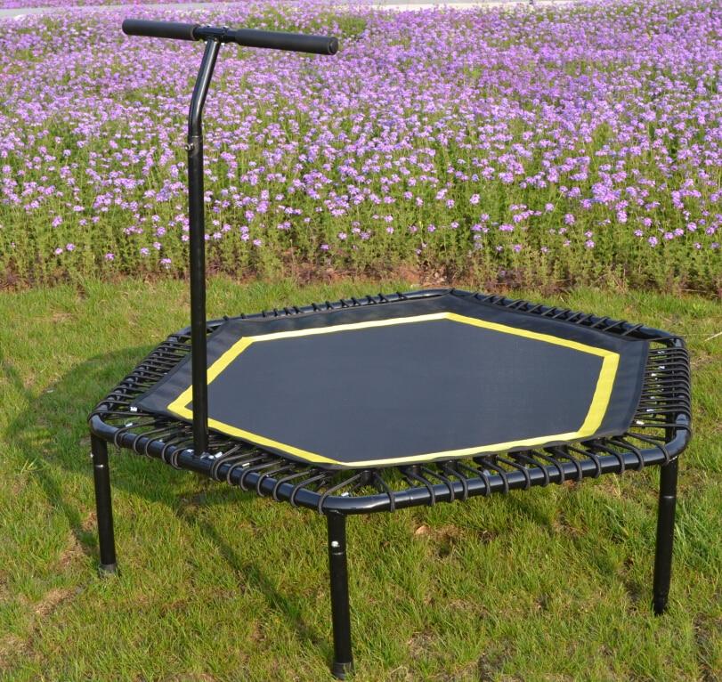 Professional Bungee trampoline Hexagonal trampoline hexagonal fitness bungee trampoline with handrail