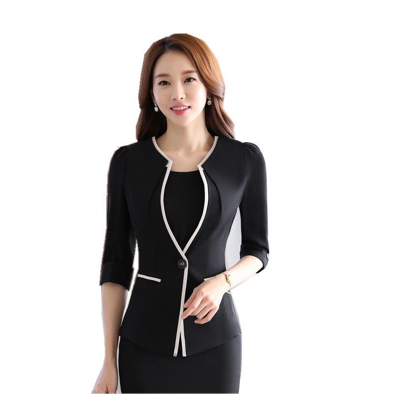 Female career fashion half sleeve women blazer 2018 New OL formal slim jackets office ladies plus size 3XL work wear uniform