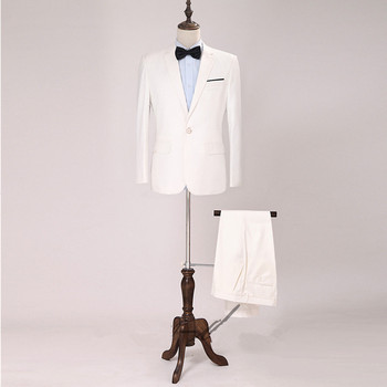 Classic high-quality men's suit white lapel single-breasted men's prom dress and groomsmen dress (jacket + pants) custom made