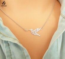 Oly2u геометрическое колье оригами «Колибри», летающая птица, цепочка до ключицы, Массивное колье, подвеска украшения подарки