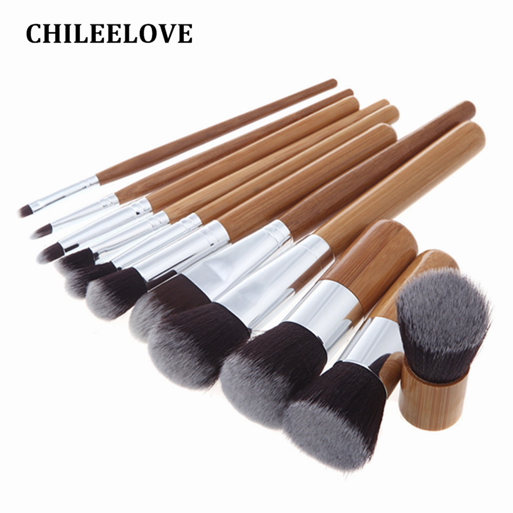 CHILEELOVE 11 Piece Wood Bamboo Handle Makeup Brush Kit Synthetic Hair Powder Eyeshadow Highlight Women Cosmetic Base Complete
