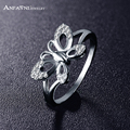 Anfasni 2016 belas mulheres dedo jóias anéis cor prata banhado aaa zircão cúbico borboleta forma de anel para meninas cri0100-b