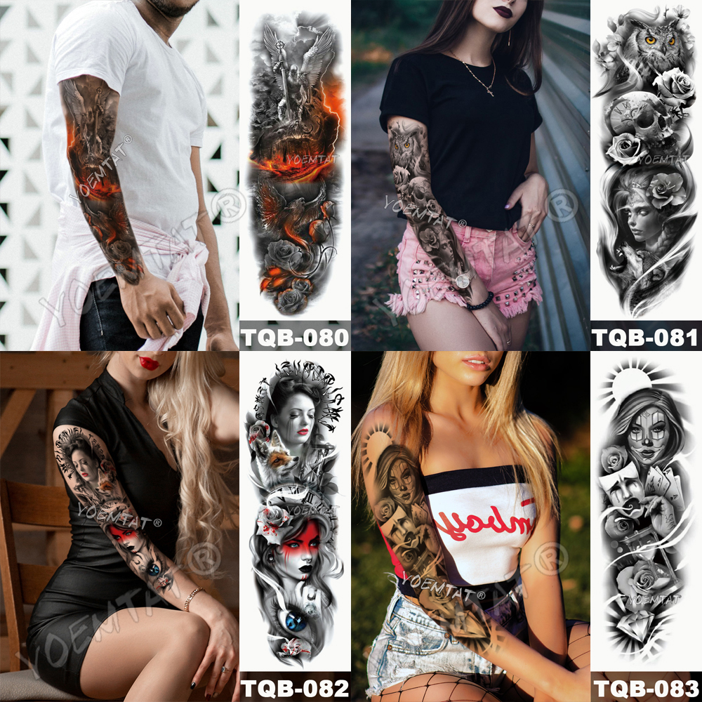 Tatuaje para brazo impermeable cráneo completo 10