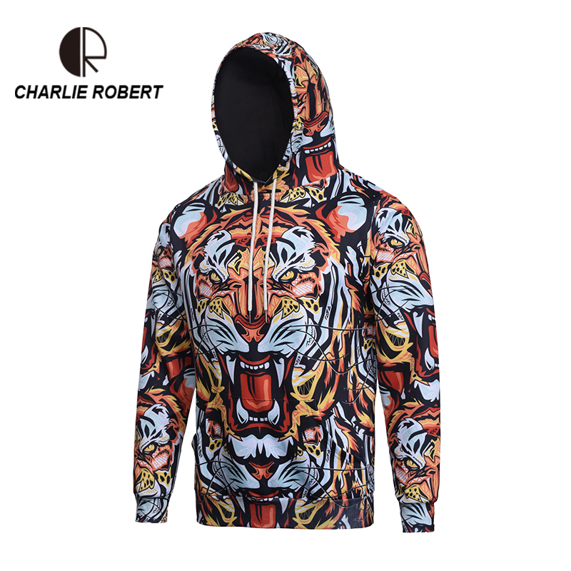 2017 Digital 3D Hooded Size Men's Long Sleeve Jacket Animals Lion Series Camouflage Series Nightclub <font><b>Trends</b></font> Wind MH3690 M-3XL