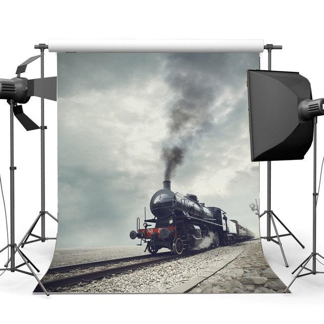 Photography Backdrop Locomotive Vintage Train Railroad Tracks Nature Travel Backdrops