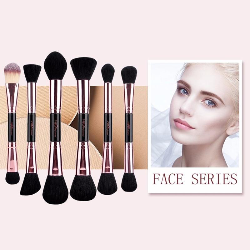 MSQ Профессиональные кисти для макияжа комплект из розового золота двухсторонняя Косметическая Кисть для макияжа основа глаз инструмент красоты PU кожа Cylind - 5