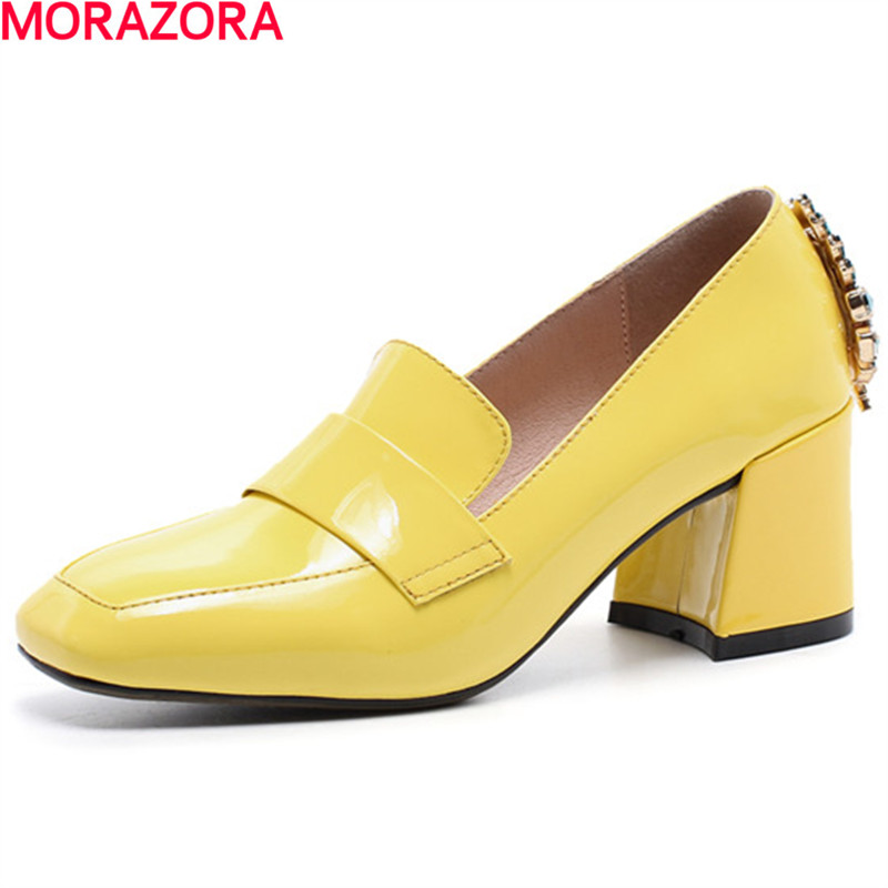 MEMUNIA new arrive women pumps High-quality Patent leather square toe rhinestone  fashion single shoes big size 34-42 memunia 2018 new arrive women pumps