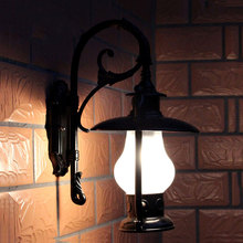 Outdoor wall light waterproof vintage lamp garden gateway corridor villa sconce lamp WKS-OWL27 antique rustic iron waterproof outdoor wall lamp vintage kerosene lantern light rusty matte black corridor hallway wall light